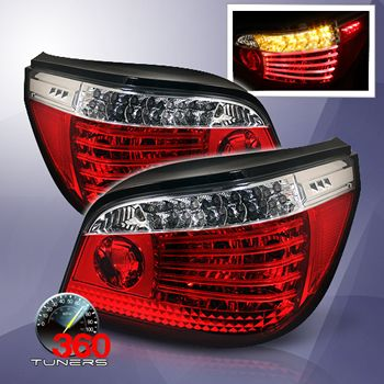04 07 Bmw E60 5 Series Led Tail Lights Pair Clear Red Led