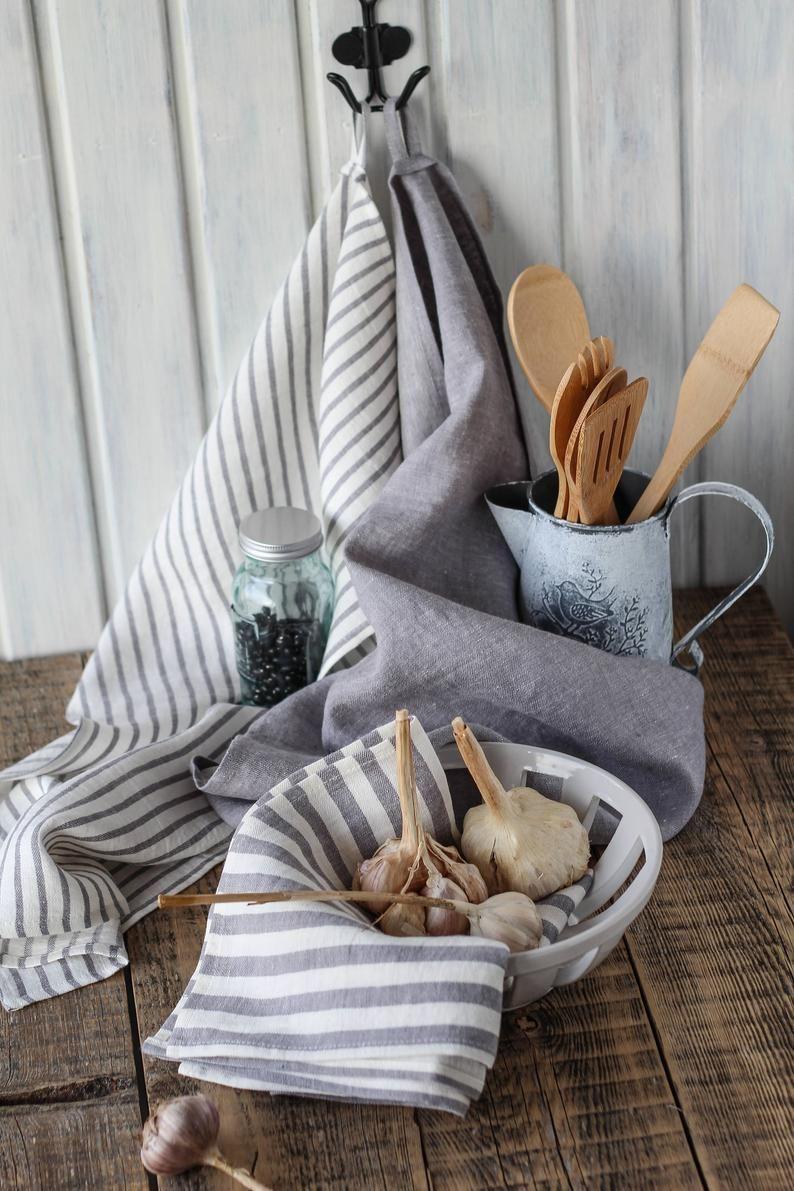 Gray linen tea towels modern farmhouse kitchen towels