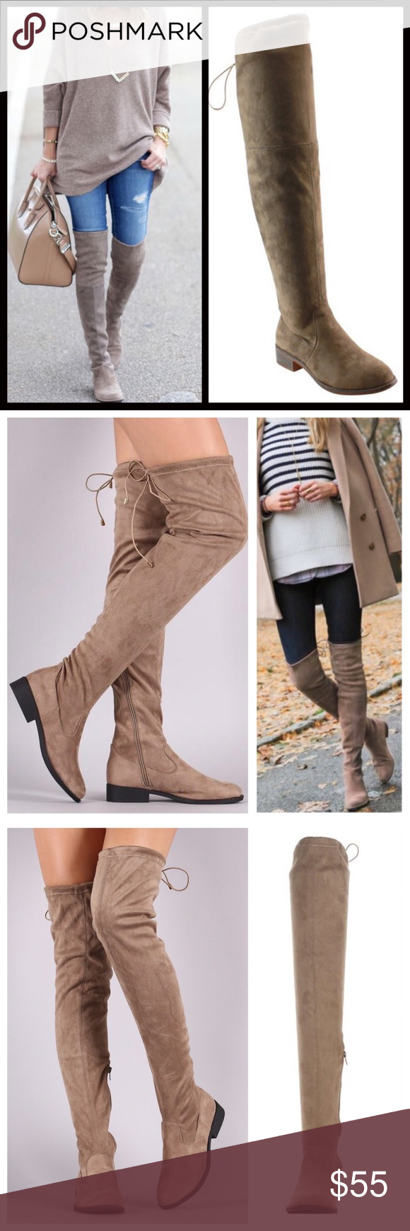 28ea4ffc45a AVA Taupe Over the Knee Flat Boot Faux Stretch Suede with lace up detail at  top of back. Super comfy and the suede is extremely soft!
