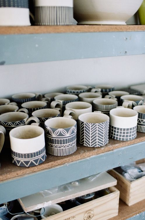 urbanoutfitters:  See more of our studio visit with the talented Jessica Wertz. (Photo by Harry Glazier) #ceramicmugs