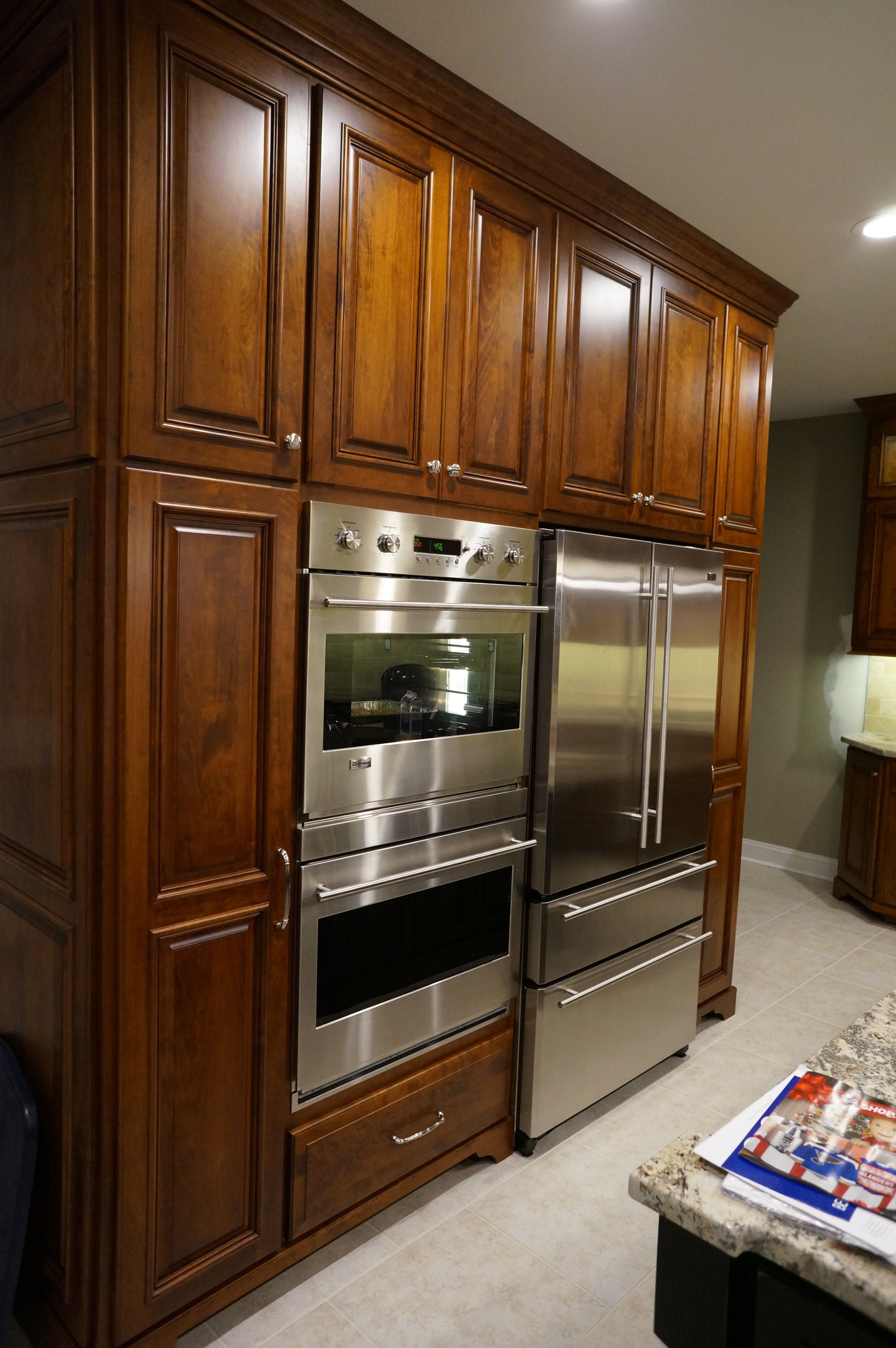 Custom Kitchen Cabinets With Double Oven And Refrigerator Surround