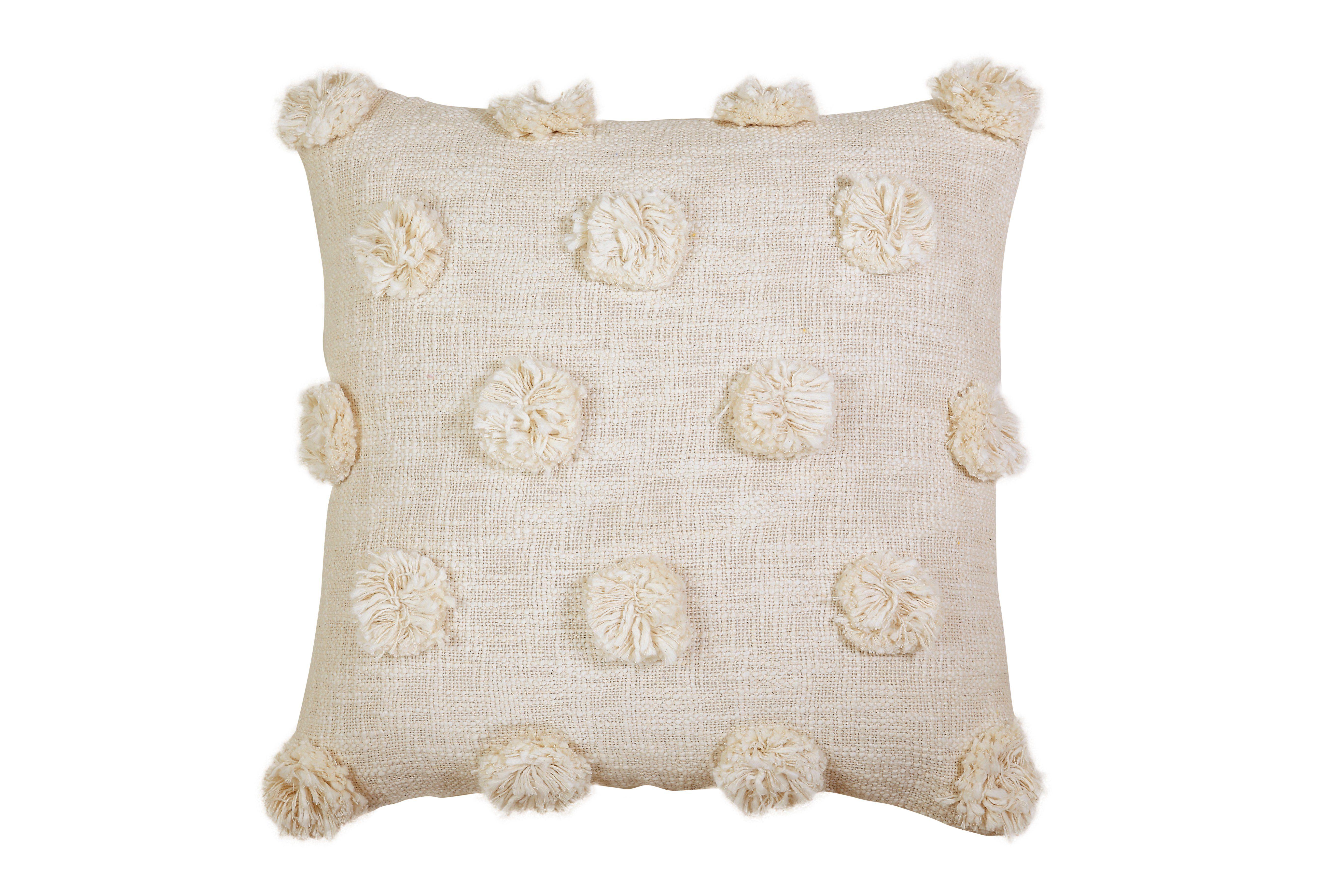 mia pom pom cushion natural offwhite 17x17 inch pompom cushion pom pom pillows colorful pillows