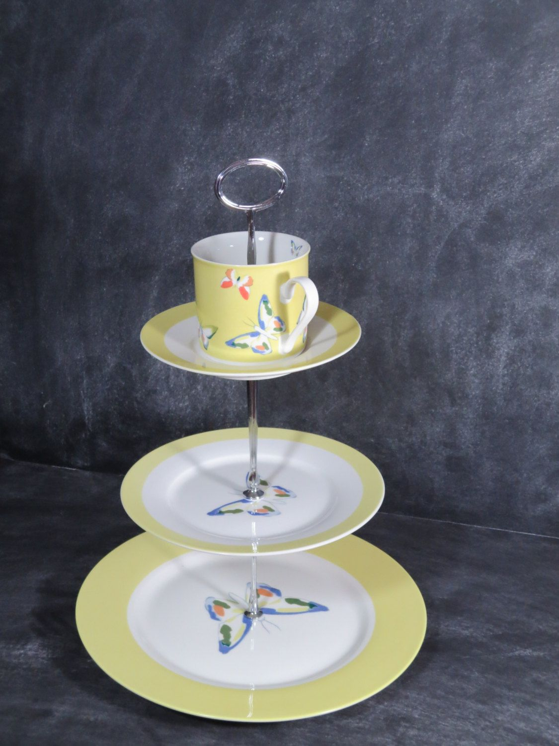 New to DancingDishAndDecor on Etsy Teacup Tea Stand 3 Tier Cake Stand Butterfly Cake Plate & New to DancingDishAndDecor on Etsy: Teacup Tea Stand 3 Tier Cake ...