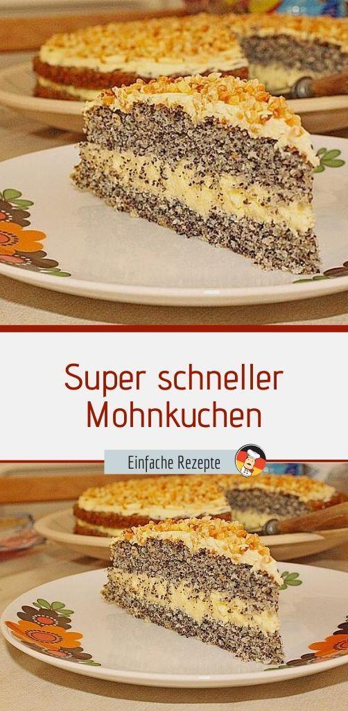 Super schneller Mohnkuchen ohne Boden mit Paradiescreme und Haselnusskrokant – Einfache Rezepte