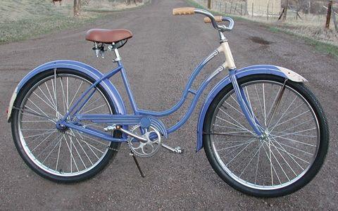 a11d4fd4bc4 blue vintage schwinn cruiser with a brown seat (all it needs is a basket)
