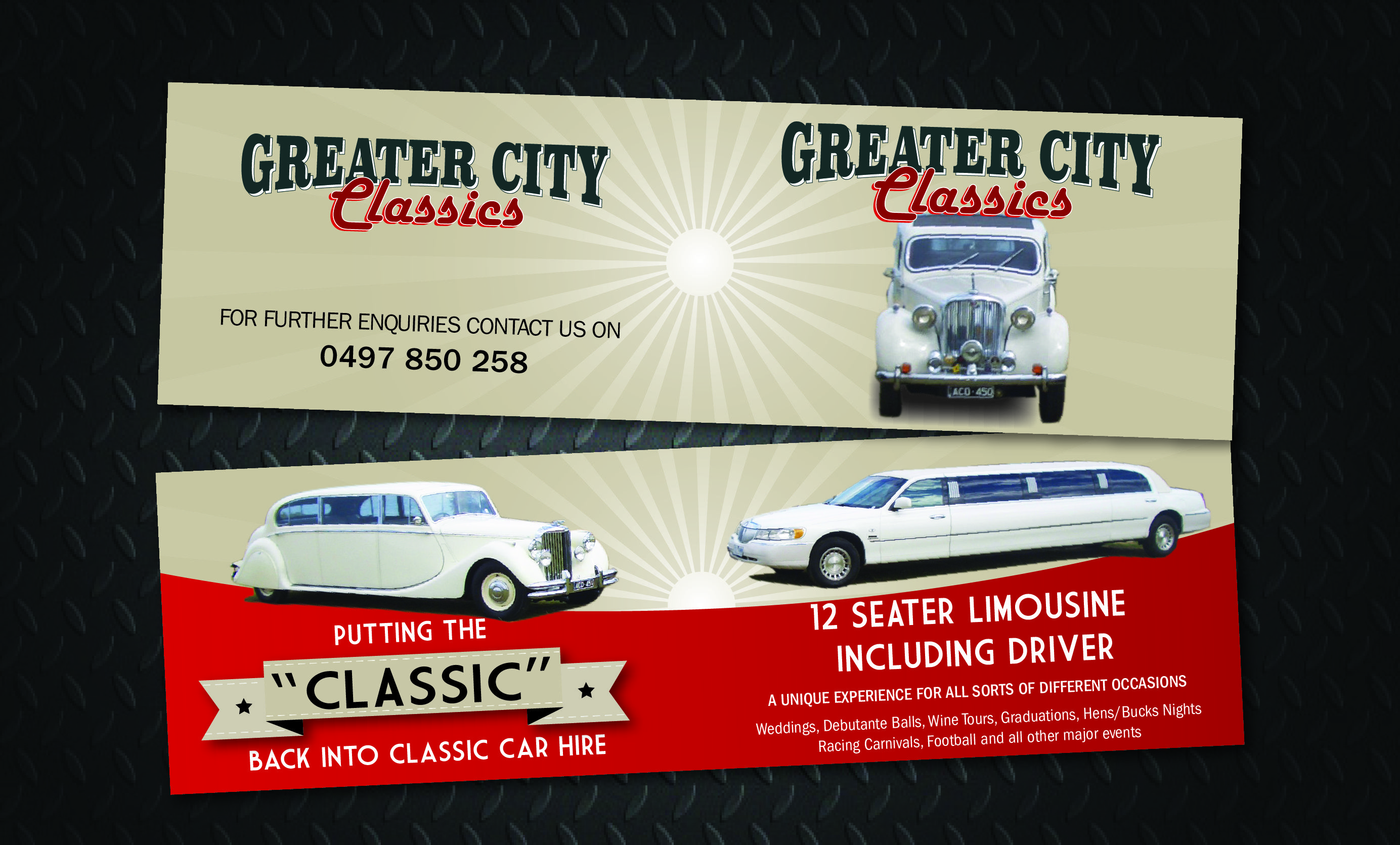 Double business card design for greater city classics a new geelong double business card design for greater city classics a new geelong based limo business reheart Images