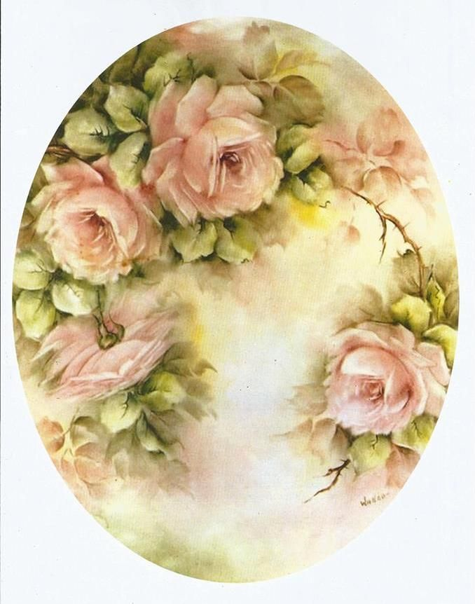 Pink Roses Oval Card Toppe Roses Peintes Peinture Fleurs