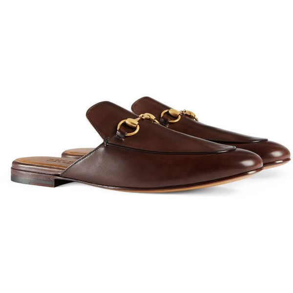Gucci Leather Horsebit Slipper ($585) ❤ liked on Polyvore featuring men's  fashion, men's