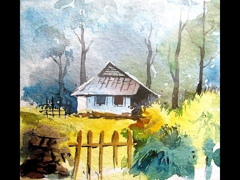 Simple Landscape Painting Watercolor Painting For Beginners Pa