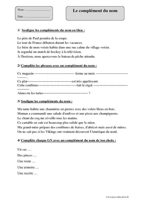 Complement Du Nom Cm2 Exercices Corriges Grammaire