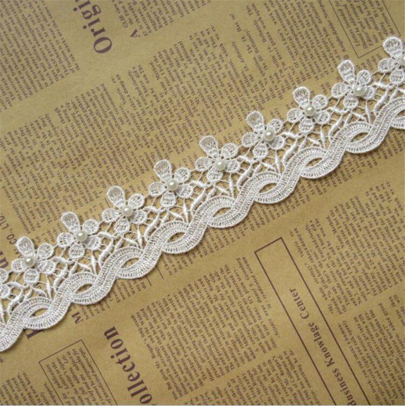 2Yds Off White//Black Vintage Lace Trim Ribbon Wedding Applique Sewing Craft DIY