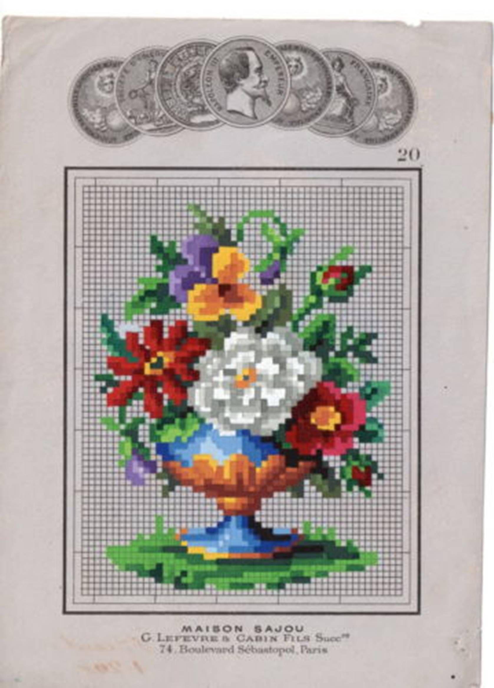 Beautiful Floral Urn Berlin Woolwork by Sajou