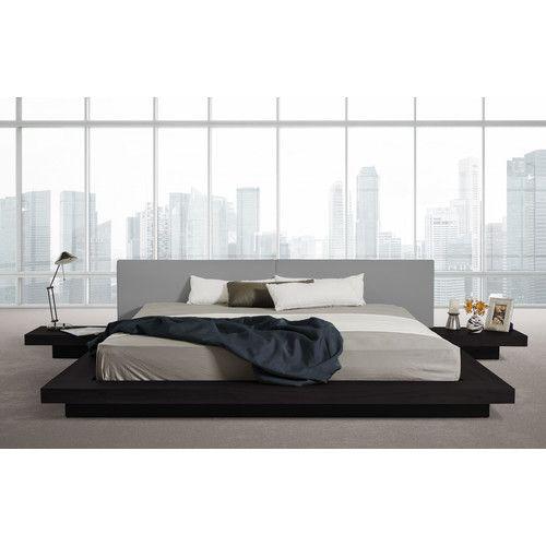 Carter Upholstered Platform Bed Modern Platform Bed Black