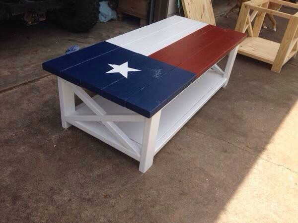 Texas Flag Coffee Table Custom Made Painted Pine Tables 450 5 Ft Long 2 Tall End 250 3 28 Inches