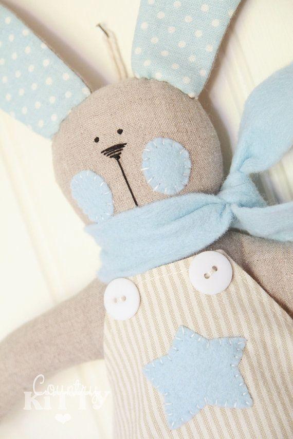 Bunny with bunting - baby boy nursery - newborn decoration ...