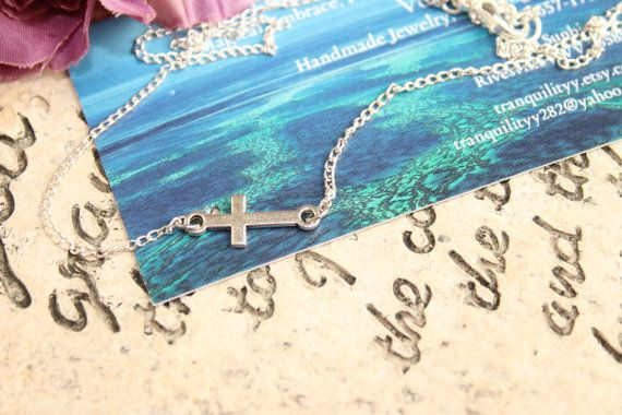 Faithfulness Sideways cross necklace Sliver tone by tranquilityy, $7.00