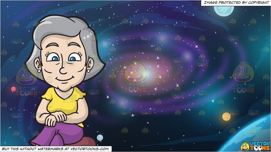 Galaxy cartoon. Clipart a mature woman