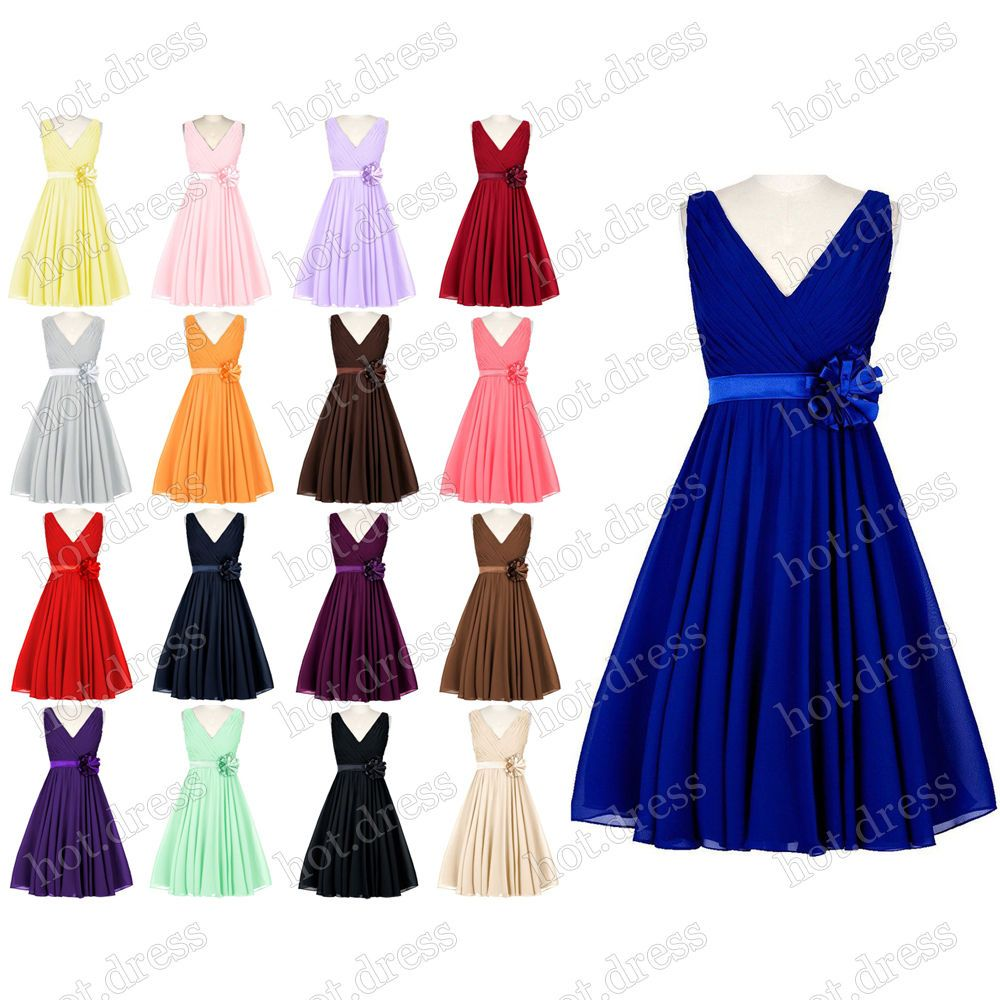 Details about stock new short chiffon formal prom party cocktail