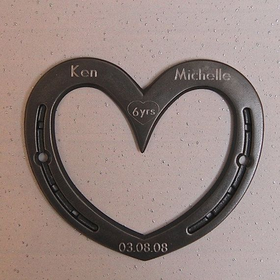 Horseshoe Wall Heart 6th Or 11th Anniversary Gift Iron Steel Engraving Available