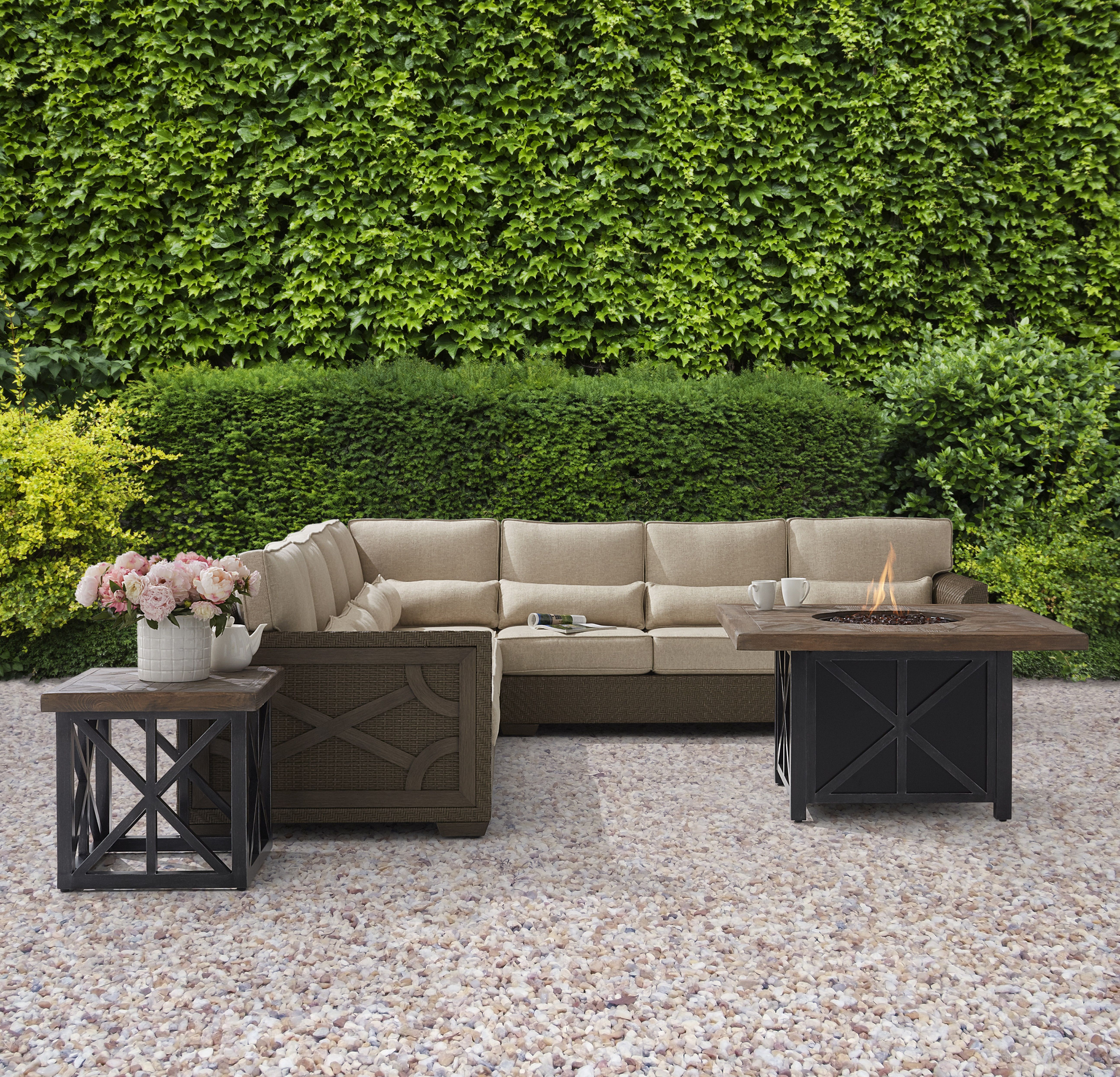 Arch salvage outdoor wicker piece sectional with quentin gas