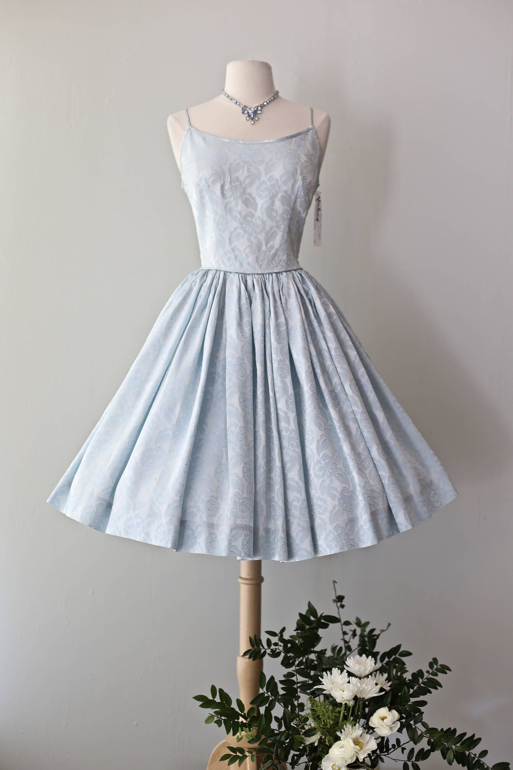02fee2c0c9f Vintage 1950 s Ice Blue Brocade Party Dress ~ Vintage 50s Light Blue Full  Skirt Cocktail Dress by xtabayvintage on Etsy