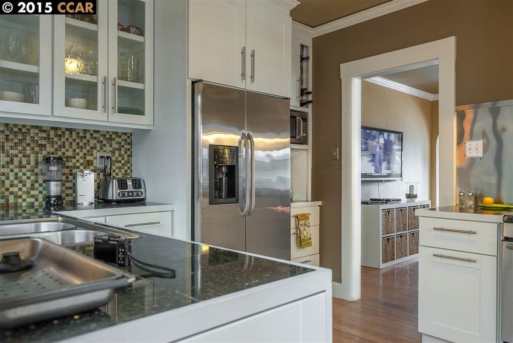Contemporary Kitchen With Ceramic Tile Hardwood Floors High
