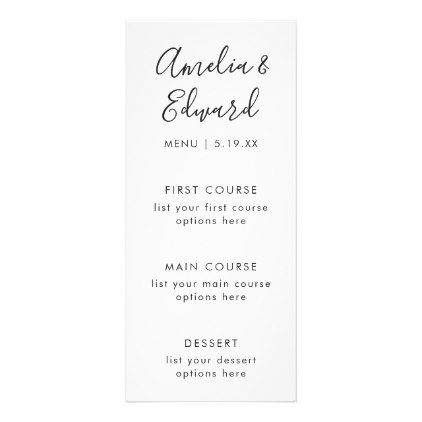 Graceful Palms Wedding Menu Card  Palm Wedding Wedding Menu