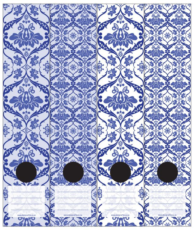 Delft Inspired Lever Arch Labels In Dark Blue, Light Blue