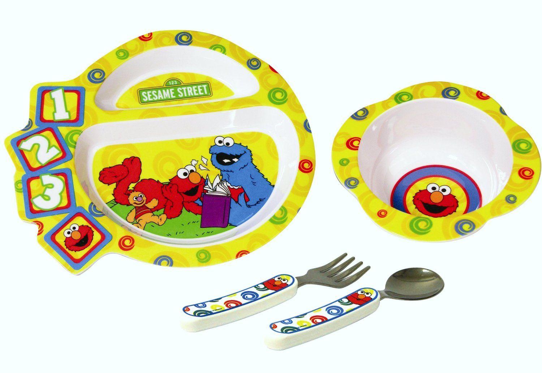 Sesame Street Dinnerware Elmo Cookie Monster Plate Bowl Fork Spoon  sc 1 st  Pinterest & Sesame Street Dinnerware Elmo Cookie Monster Plate Bowl Fork Spoon ...