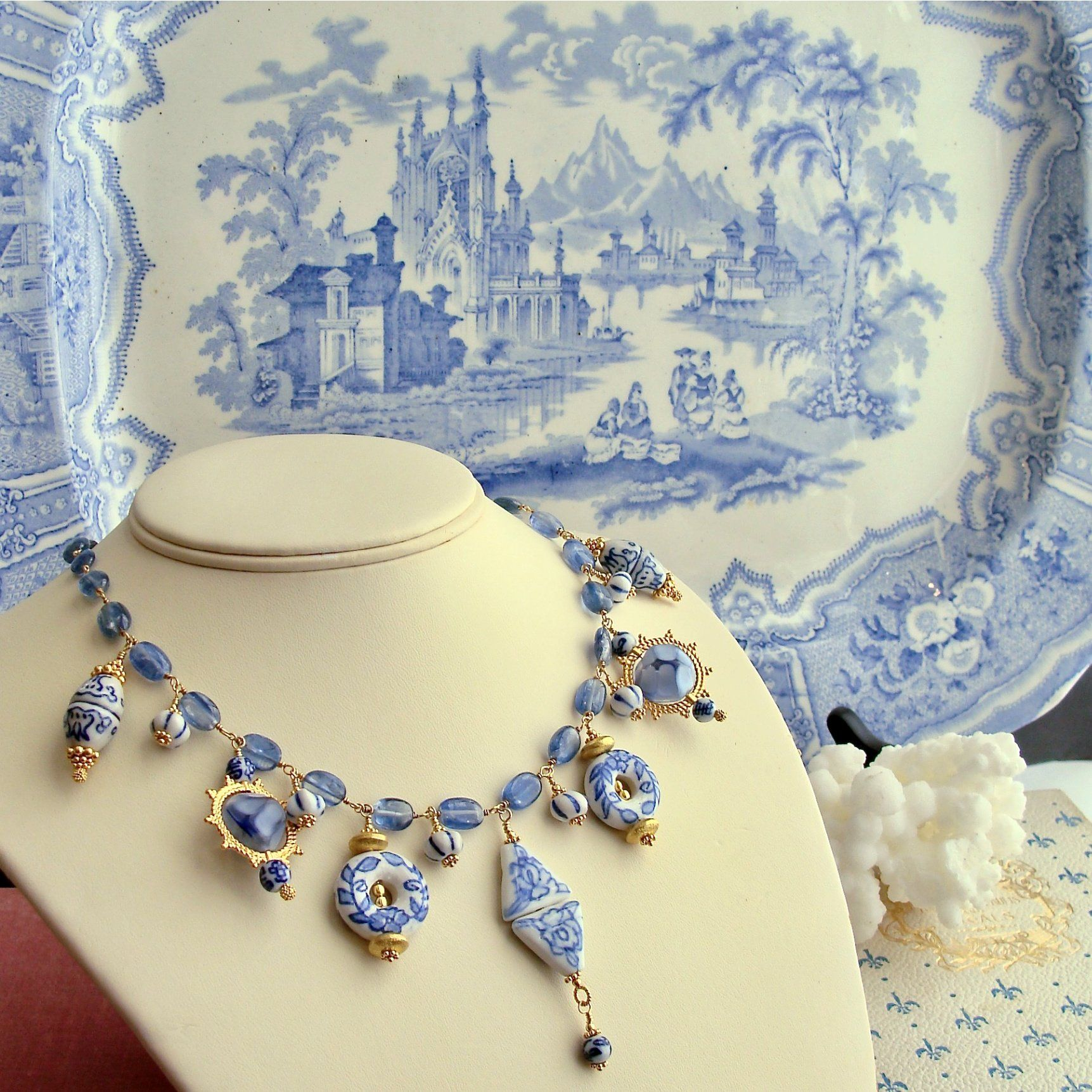 Photo of Kyanite Blue White Porcelain Bead Charm Necklace – Bluebelle IV Necklace
