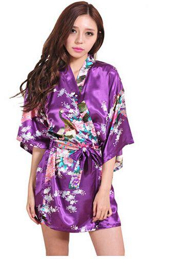 2015 seide Bademantel Frauen Satin Kimono Roben Für Frauen Floral ...