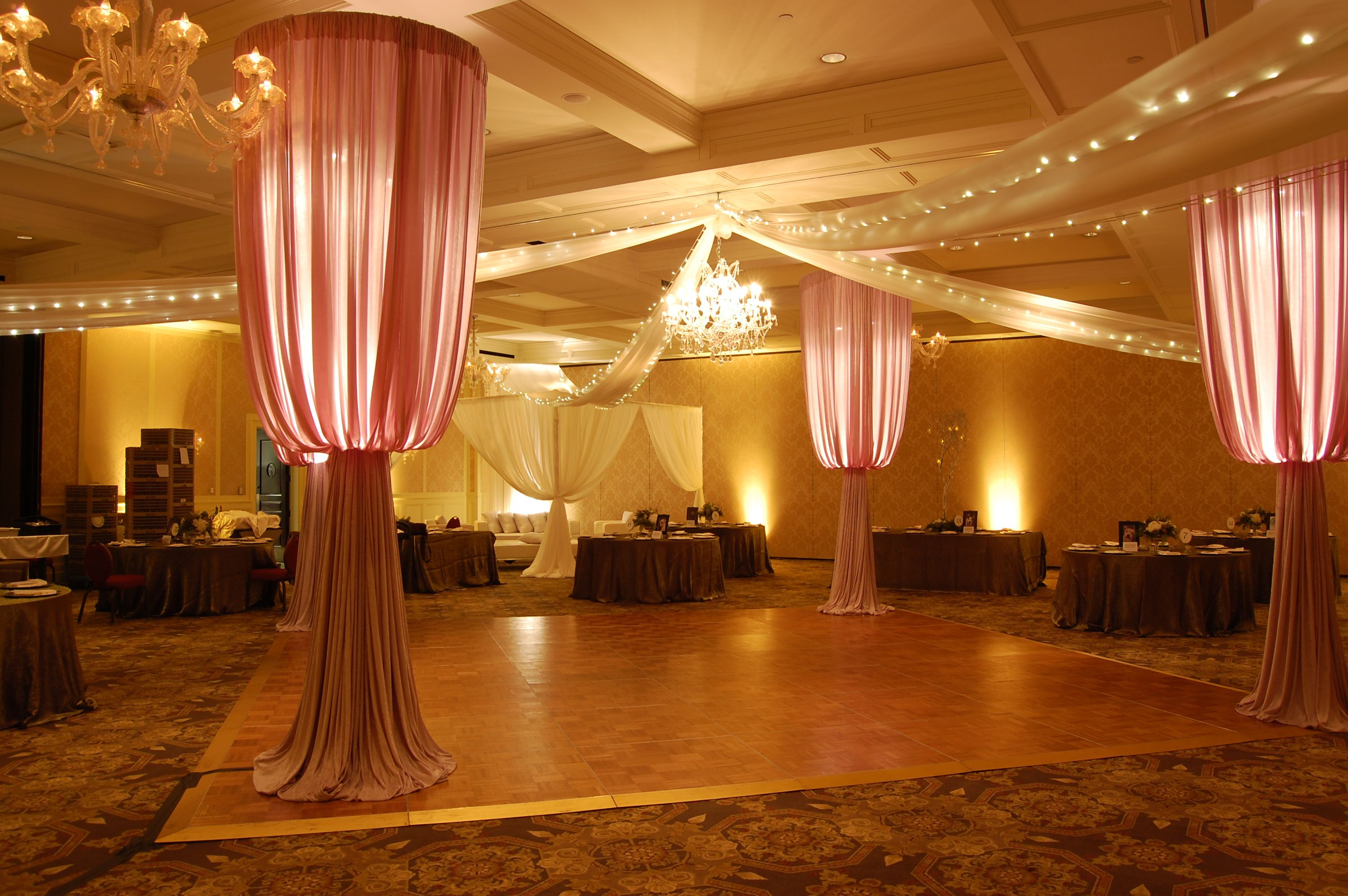 Columns ivory fabric uplighting wedding ceremony downtown double tree - Custom Lighted Fabric Columns