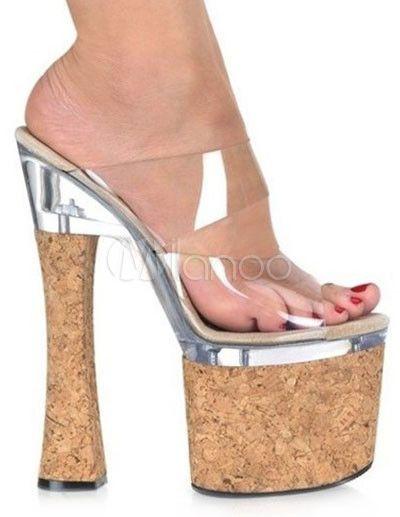 Zapatillas con plataforma de madera de tacón alto de estilo sexy -  Milanoo.com 1e4aebff2419