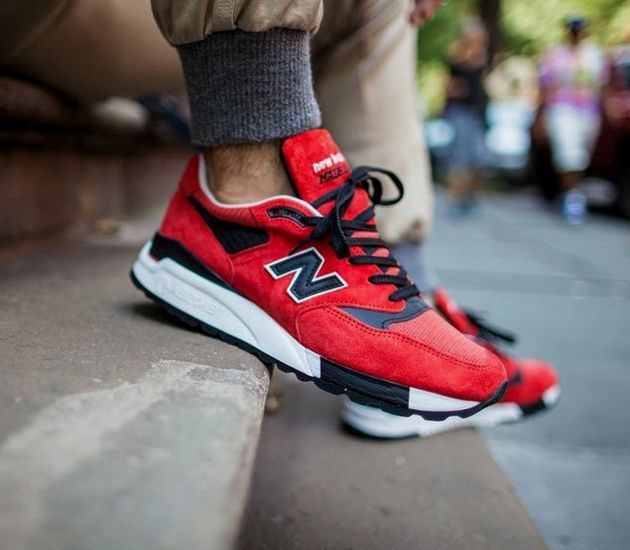 red new balance 998 on feet