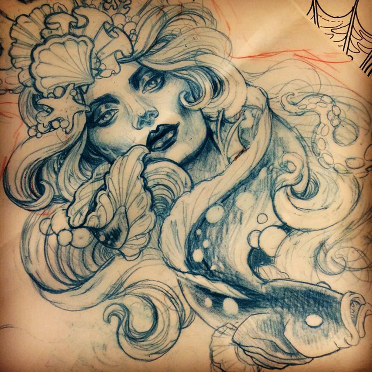 Traditional Mermaid Tattoo Drawing