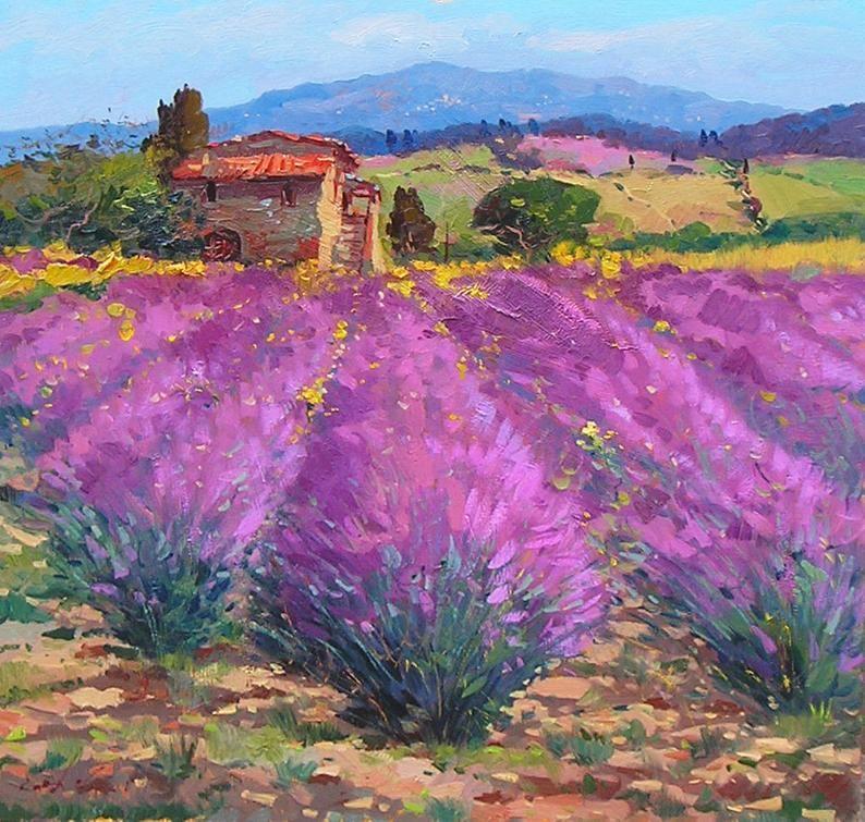 Purple Lavender Landscape Painting Lavender Art Impressionist Painting Lavender Painting Landscape Art Lavender Wall Art Landscape Wall Art Pintura Paisajistica Paisajes Dibujos Arte Paisajes
