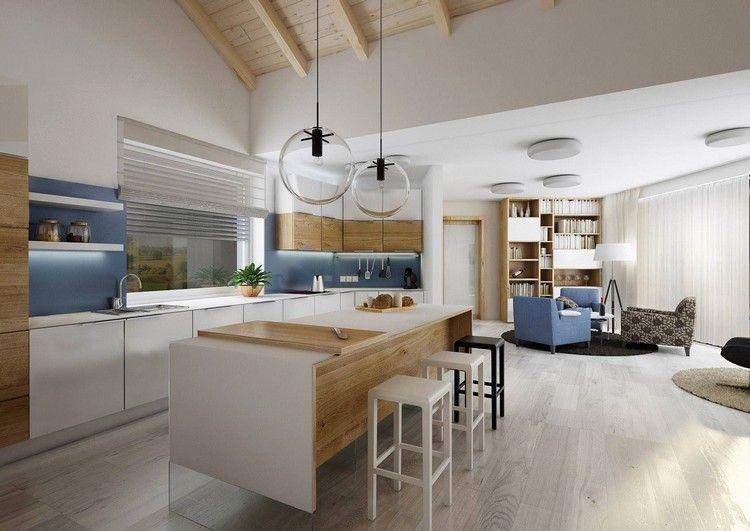 inspiration cuisine scandinave en blanc et bois clair, suspensions