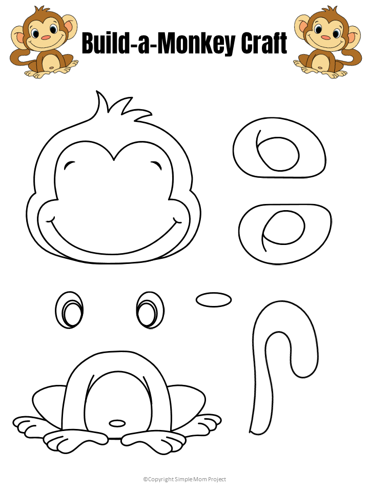 Easy Build A Monkey Craft For Kids With Free Template Monkey Crafts Free Printable Crafts Printable Crafts