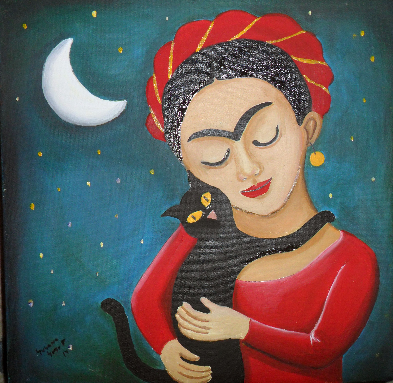 Fridita con gato 30 x 30 cms Susana Soto Poblette 2014