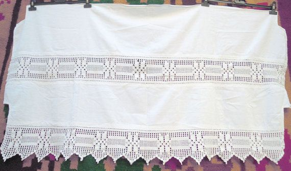 Vintage handmade curtain with atrante and lace - Greek handiwork ...
