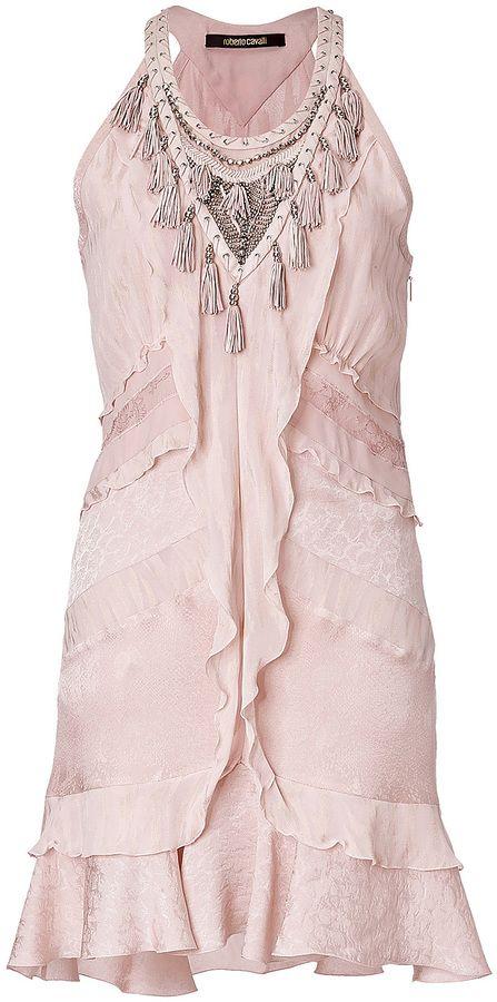 Roberto Cavalli Embellished Fringe Dress