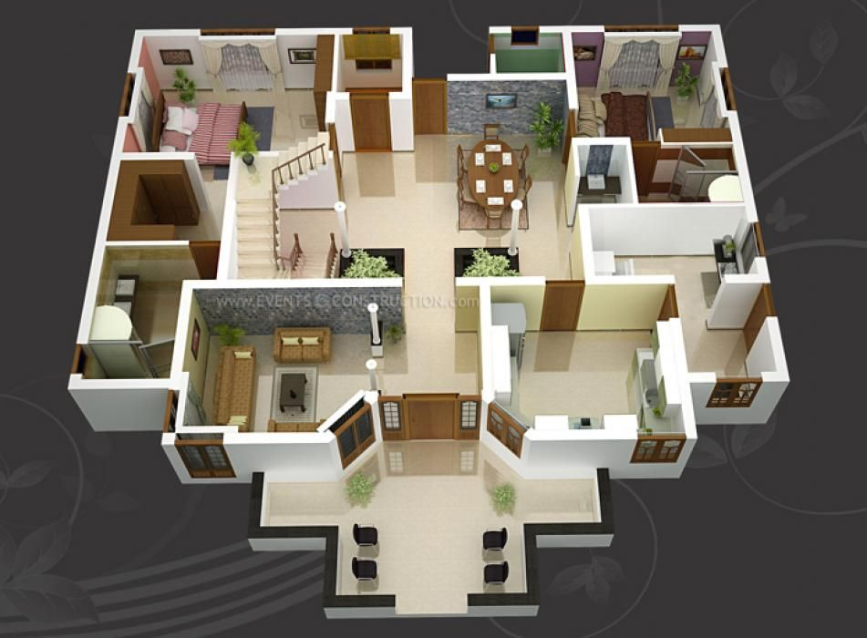 3D Small House Open Floor Plans With 3 Bedroom Get Perfect With Open Floor  Plan For Spacious Interior. Small Home Is Also Less Costly | My Pins |  Pinterest ...