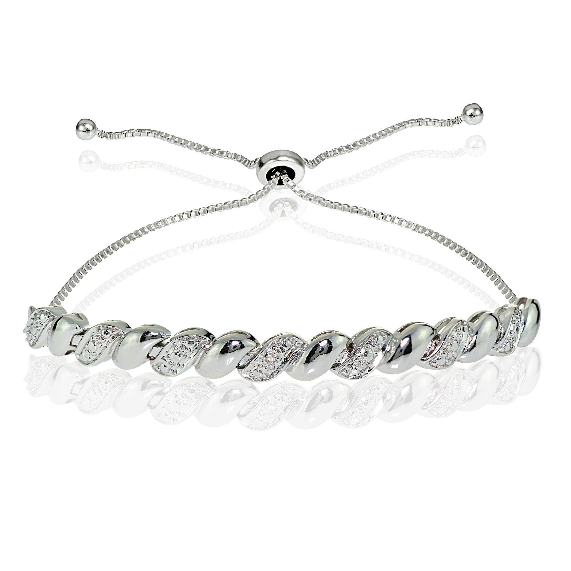 Rose gold finish round cut created diamond chain infinity design bangle giftbox