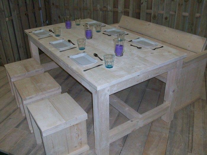 ≥ diy steigerhouten tafel compleet bouwpakket zeer goedkoop