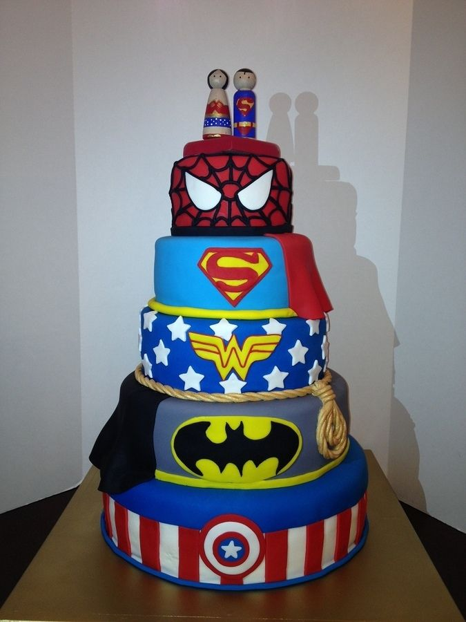 superhero grooms cake except there should be no mixing of universes ei no justice league