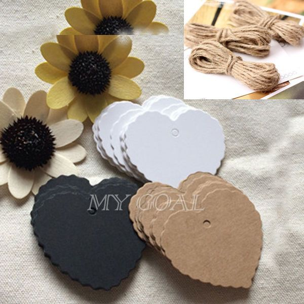 100x Heart Kraft Paper Wedding Party Gift Card Label Blank Luggage Tags + String #Tags
