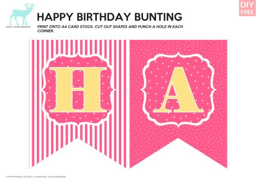 Pink & Yellow Happy Birthday Bunting