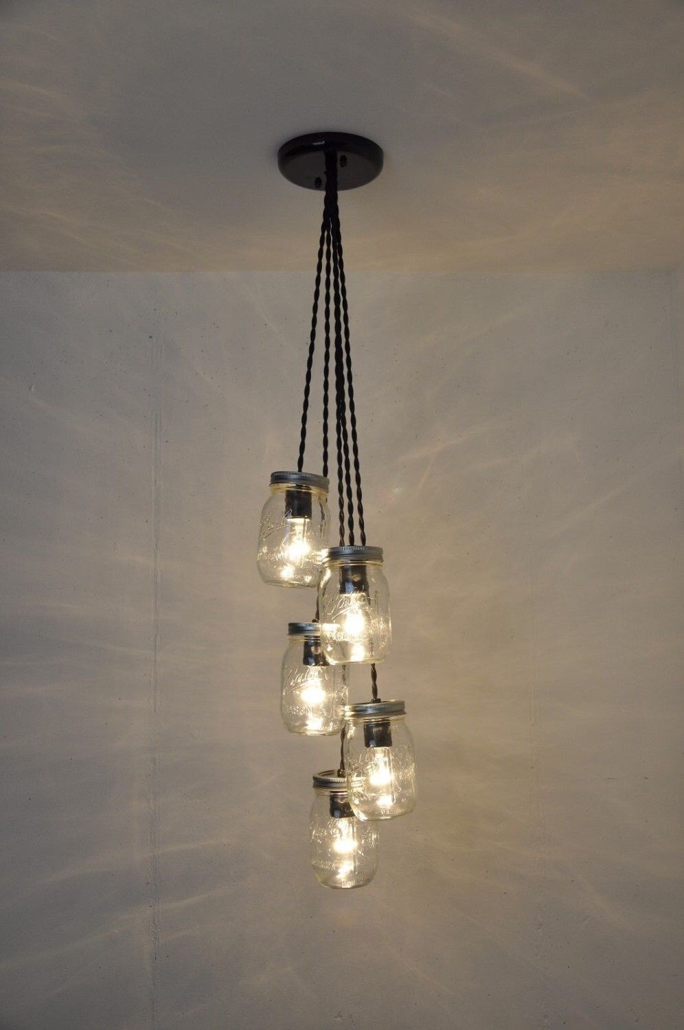 Mason jar chandelier 5 jar pendant light fixture hanging light a personal favorite from my etsy shop find this pin and more on mason jar chandelier arubaitofo Gallery