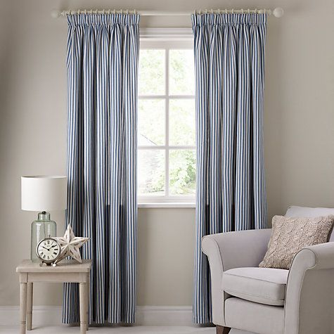 Buy John Lewis Ticking Stripe Lined Pencil Pleat Curtains Online At Johnlewis