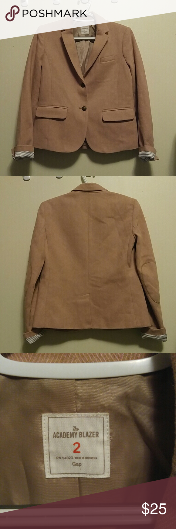 Gap Blush Academy Blazer Worn once or twice. Gap blazer sleeves lined with stripes so perfect to fold and roll. Size 2.    Thanks for looking! GAP Jackets & Coats Blazers